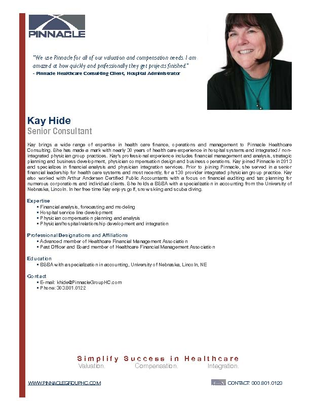 Kay Hide - Pinnacle Healthcare Consulting